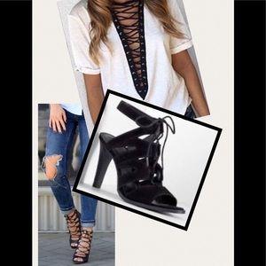 VERA WANG- Black lace up peep toe heels